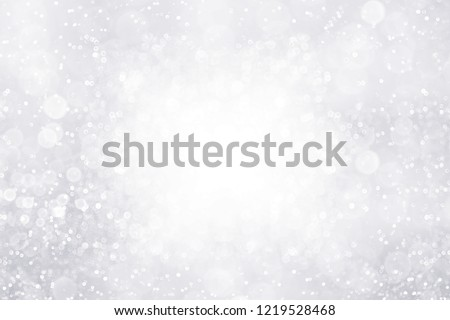 Modern fancy silver white glitter sparkle background for happy birthday party invite, Christmas ice frost border, frosty winter icy snow, diamond crystal or celebrate 25th wedding anniversary frame #1219528468