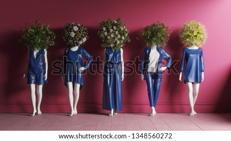 Modern fashion design with mannequins on pink background. Mannequins with flowers on the head. 3d illustration