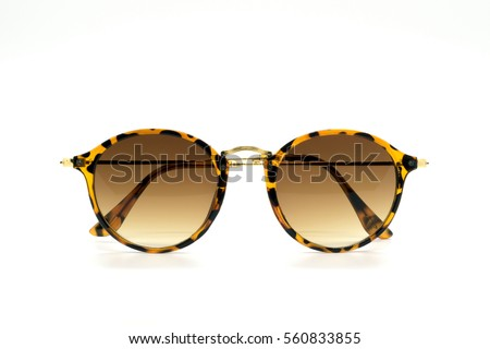 Modern fashionable sunglasses isolated on white background, Glasses #560833855