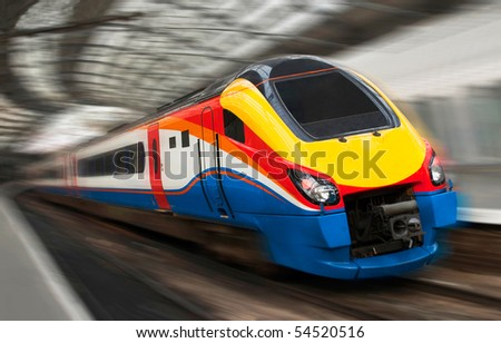 Modern Fast Passenger Speed Train in the Station with Motion Blur