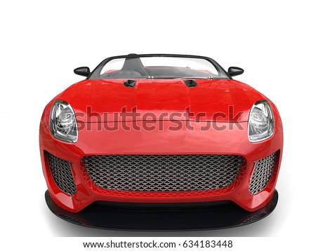 Modern fast raging red convertible  sports car - front view closeup shot - 3D Illustration