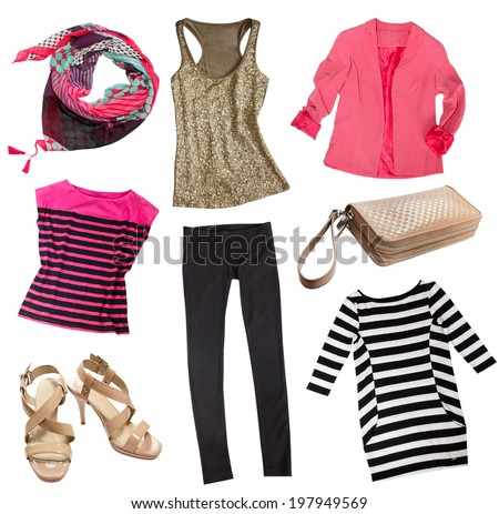 54d8b218e314 Modern female clothes isolated on white. Collage woman clothing and  accessories.