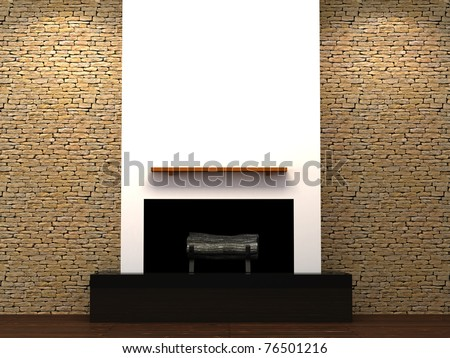 Modern fire place with stone brick wall. 3d Illustration.