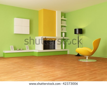 Modern Fireplace In A Yellow And Green Living Room - Rendering Stock ...