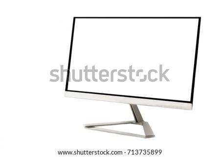 Modern flat computer blank screen monitor isolated on white background #713735899