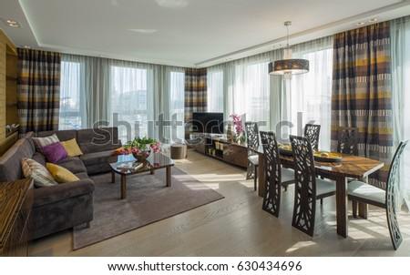 Modern flat interior. Guest room. #630434696