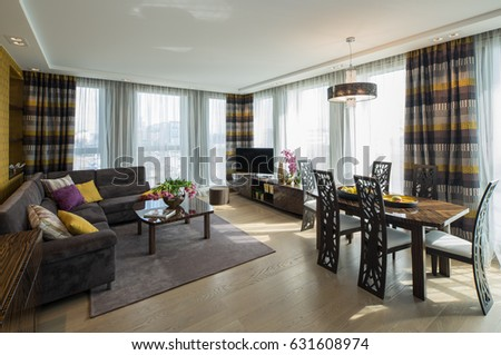 Modern flat interior. Guest room. #631608974