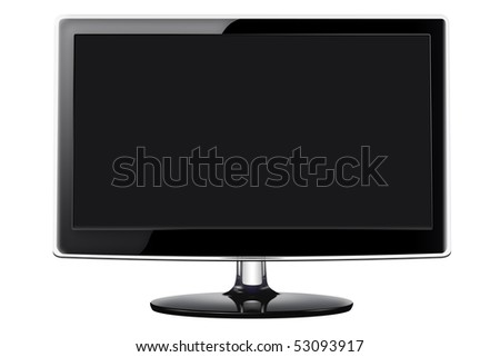 Modern flat screen television in a sleek glossy black style, isolated on a white background with clipping path.