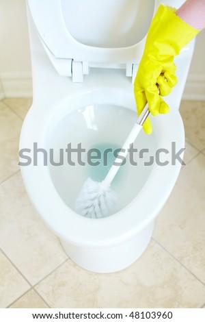 Modern flush toilet. Cleaning