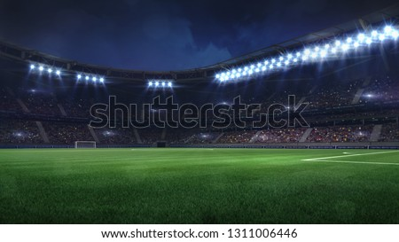modern football stadium illuminated by floodlights and empty green grass, football stadium sport theme digital 3D background advertisement illustration my own design