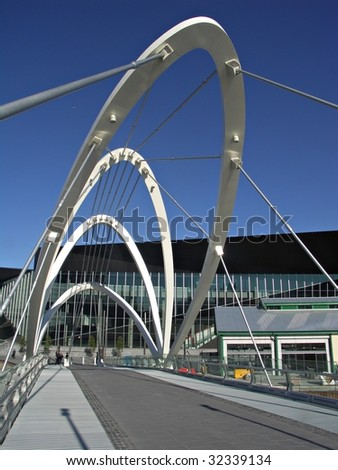 Modern Footbridge over the Yarra River at Melbourne's Convention and Exhibition Centre - stock photo