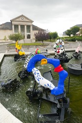 modern fountain in front of town hall, Chateau-Chinon, Burgundy, France