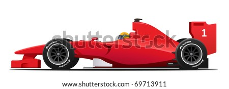 Modern Fromula 1 red racing car detailed