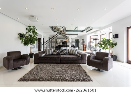 Modern front room with marble floor #262061501