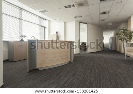 Modern furniture in a new office interior