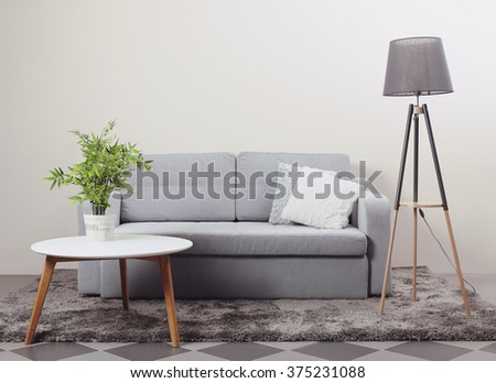 Modern furniture in the room