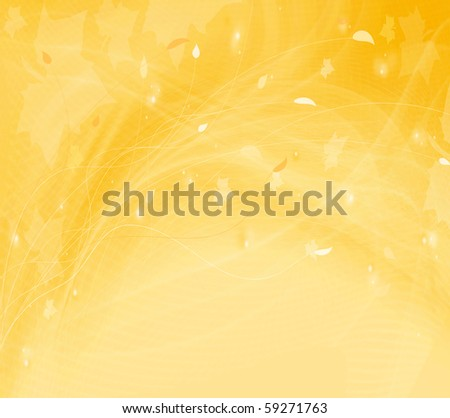Modern futuristic autumn background with abstract waves and floral pattern - stock photo