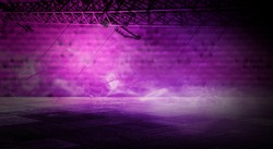 Modern Futuristic Sci-Fi Purple Blue Neon Lights On Abstract Construction Empty Dark Stage With Concrete Reflection Floor With Water On It Rain. Background of an empty foggy street, alleys.