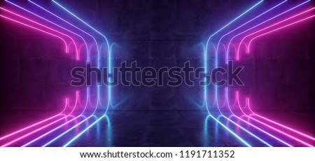 Modern Futuristic Sci-FI Refelctive Concrete Dark Empty Room With Neon Glowing Purple And Blue Tube Lights Club Background 3D Rendering Illustration