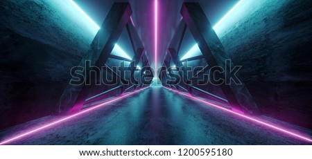 Modern Futuristic Sci Fi Spaceship Triangle Dark Empty Corridor With Door And Purple And Blue Neon Glowing Tube Lights Reflections Background 3D Rendering Illustration