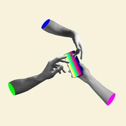 Modern gadget and hands. Hands aesthetic on bright background, artwork. Concept of human relation, community, togetherness, symbolism, surrealism.