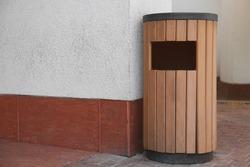 Modern garbage bin outdoors