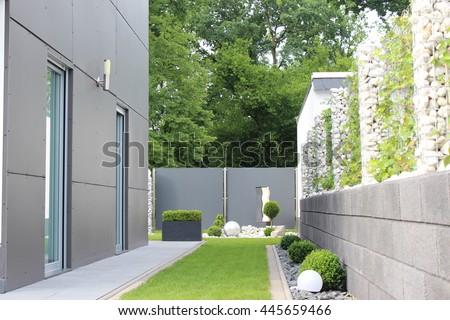 modern  garden of the house