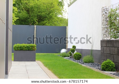 modern garden of the house #678157174
