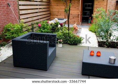 Modern garden with grey furniture flowers and a dog