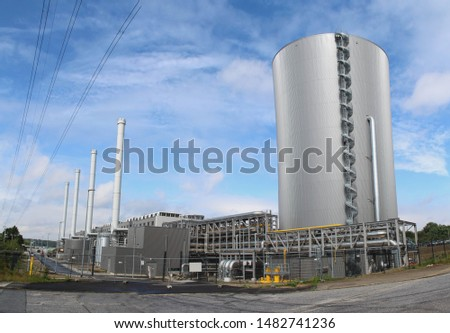 modern gas-fired power plant with large heat accumulator #1482741236