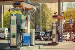 Modern gas station, toned image