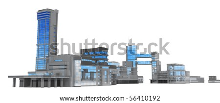 Modern glass and steel building 3d business center, isolated