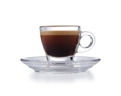 Modern glass expresso cup and saucer full of smooth expresso coffee, isolated on white with a slight drop shadow