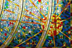 Modern Glass Mosaic Detail of a part of a glass colorful mosaic.
