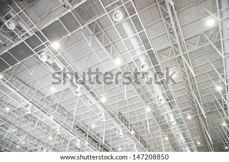 modern glass roof inside office center