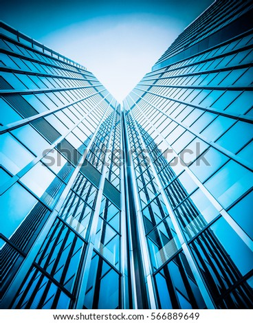 modern glass silhouettes of skyscrapers. Business building #566889649