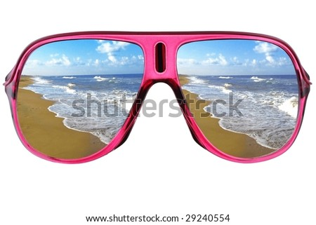 Modern glasses with sea reflection