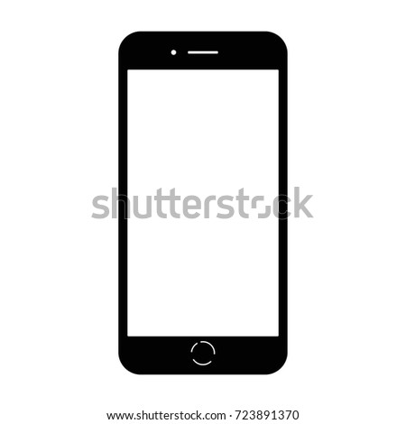 Modern glossy electrical smart phone with white blank screen. Flat style icon. Raster illustration