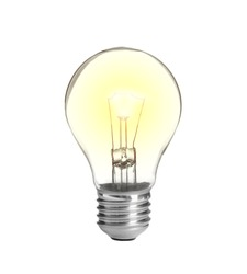 Modern glowing lamp bulb on white background