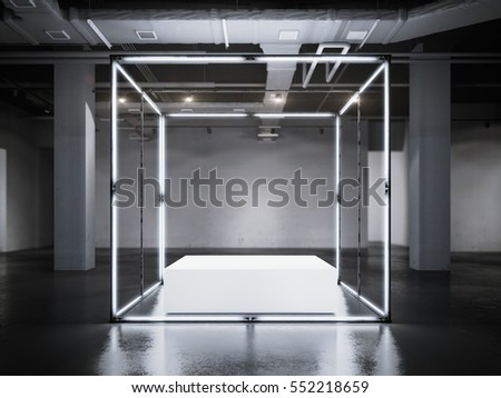 Modern glowing showcase with white podium in a loft interior. 3d rendering