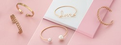 Modern golden bracelets on pink and white slanted layout
