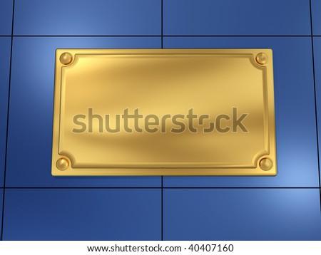 Modern golden nameplate ( blank sign ) on metallic wall - 3d render