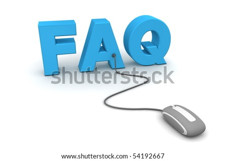 modern gray computer mouse connected to the blue word FAQ