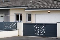 modern gray design gate aluminum portal outdoor door front of suburbs house