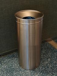 modern gray metal trash can