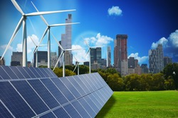 Modern green city powered only by renewable energy sources concept