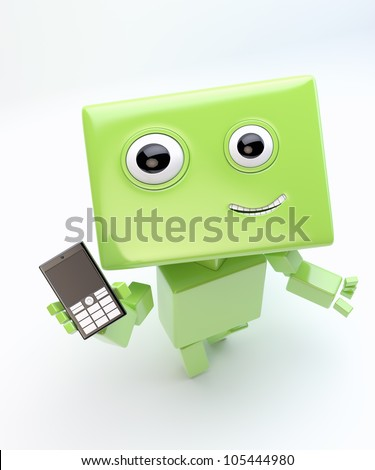Modern green cyber toy that holds and show mobile phone/Lovely robot with mobile phone