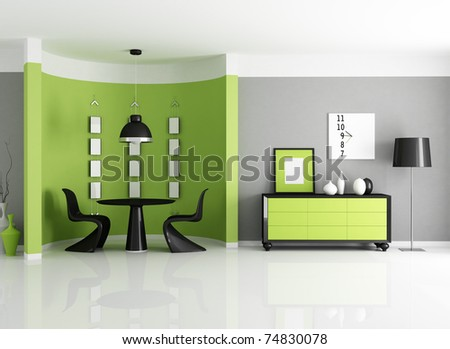 Modern Green Dining Room With Circular Wall - Rendering Stock ...