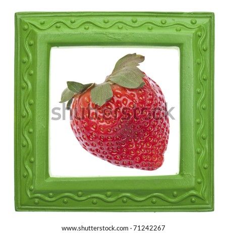 Modern Green Frame with Strawberry on White.