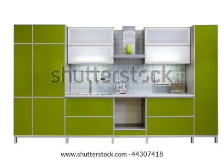 modern green kitchen isolated on white background